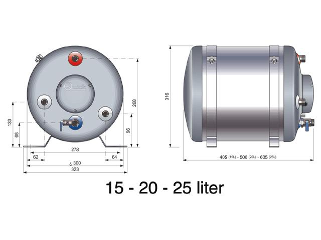 Quick boiler 30 liter - Kleine lay outs het oppervlak ...