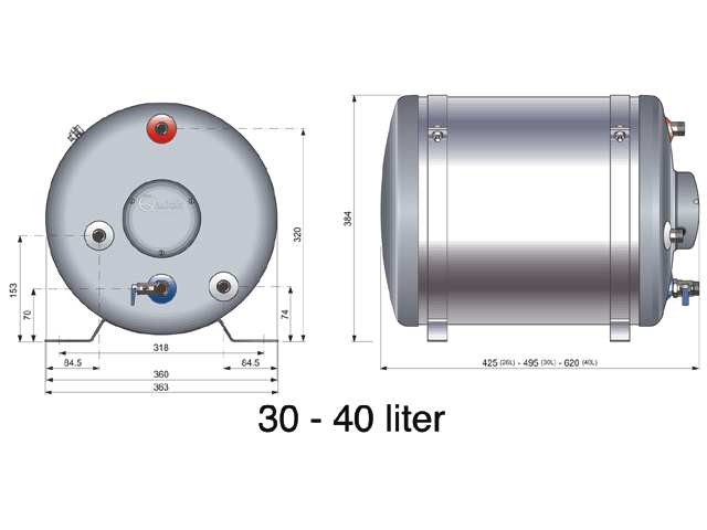Quick boiler 50 liter - Kleine lay outs het oppervlak ...